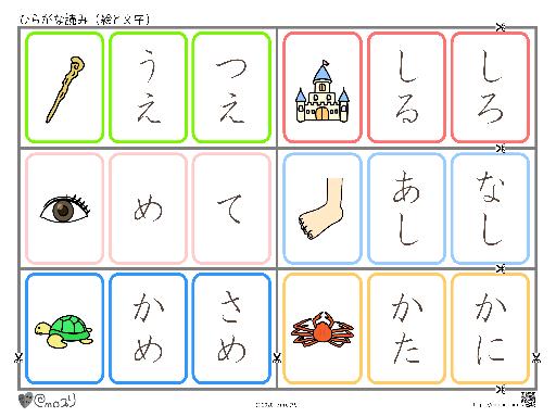 ひらがな読み(絵と文字)杖・城