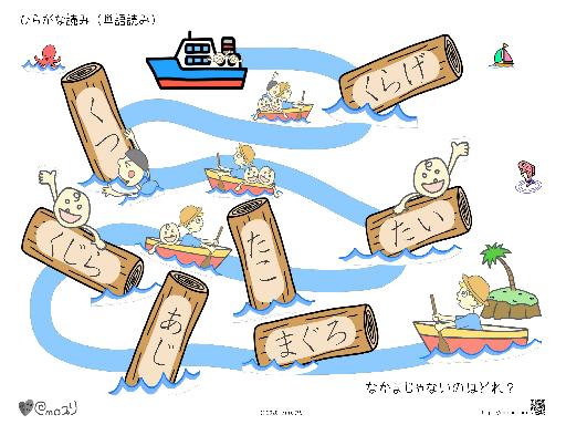 ひらがな読み(単語読み:海2)まぐろ・あじ
