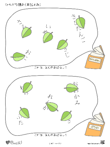 ひらがな読み(単語読み:ものがたり1-2)桃太郎・赤ずきん