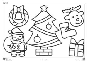 幼児向け_ぬりえ_季節_冬_クリスマス
